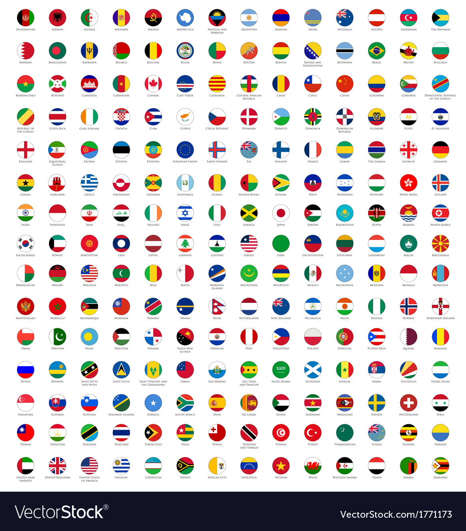 Circle flags of the world vector