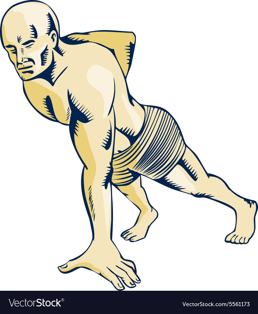 High intensity interval training pushup etching vector