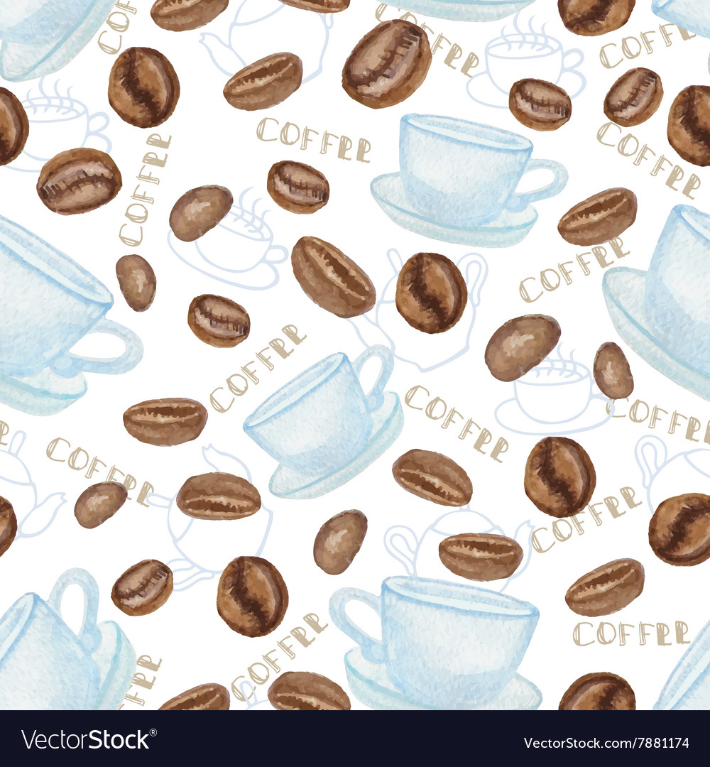 Coffee beans and white cup seamless pattern vector