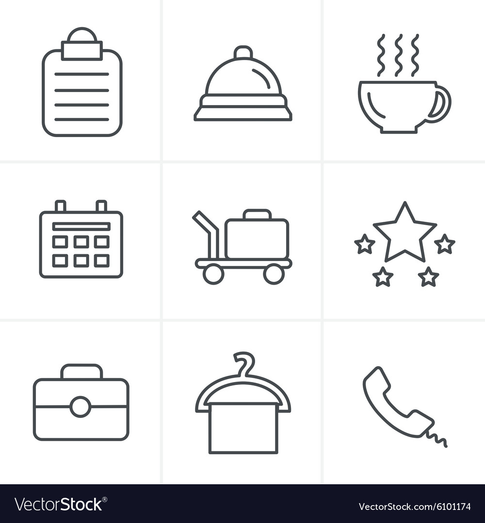 Line icons style hotel and hotel services icons wi vector