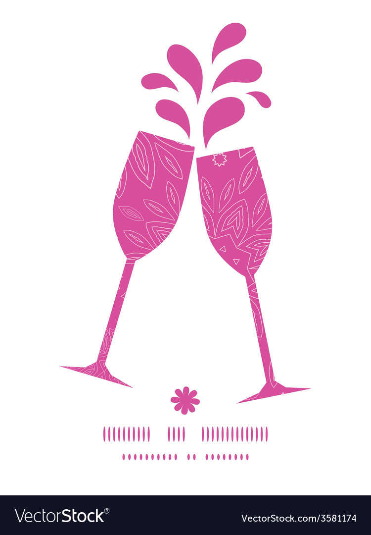 Pink abstract flowers texture toasting wine vector