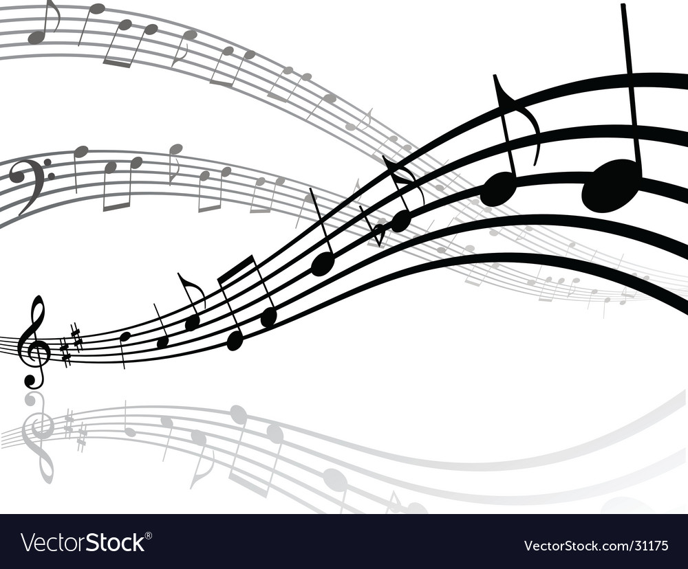 Abstract musical lines with notes vector