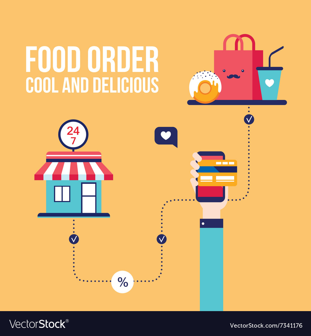 Food order online shopping ecommerce mobile vector