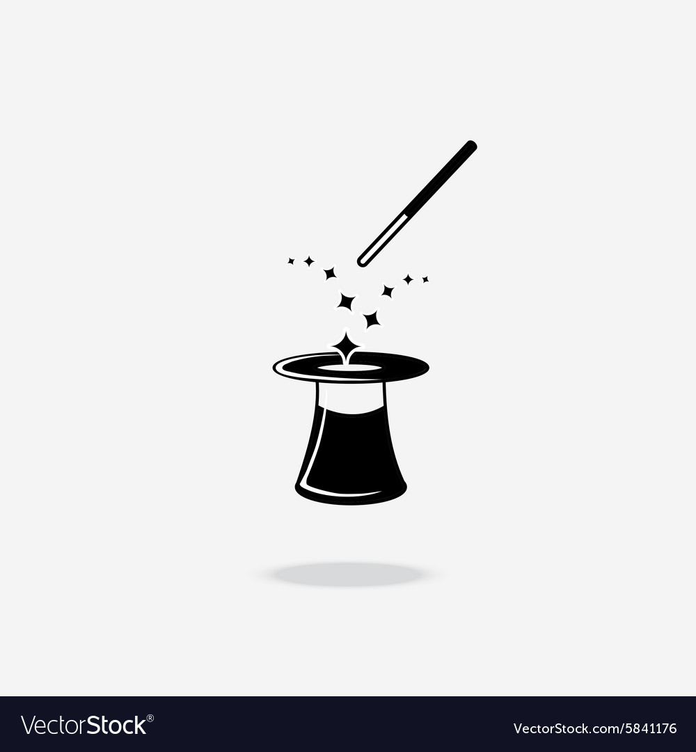 Magic wand and hat icon vector