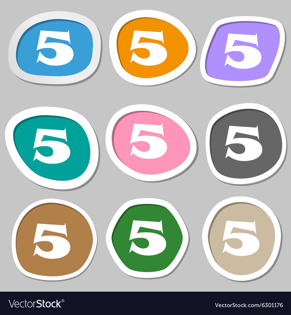Number five icon sign multicolored paper stickers vector