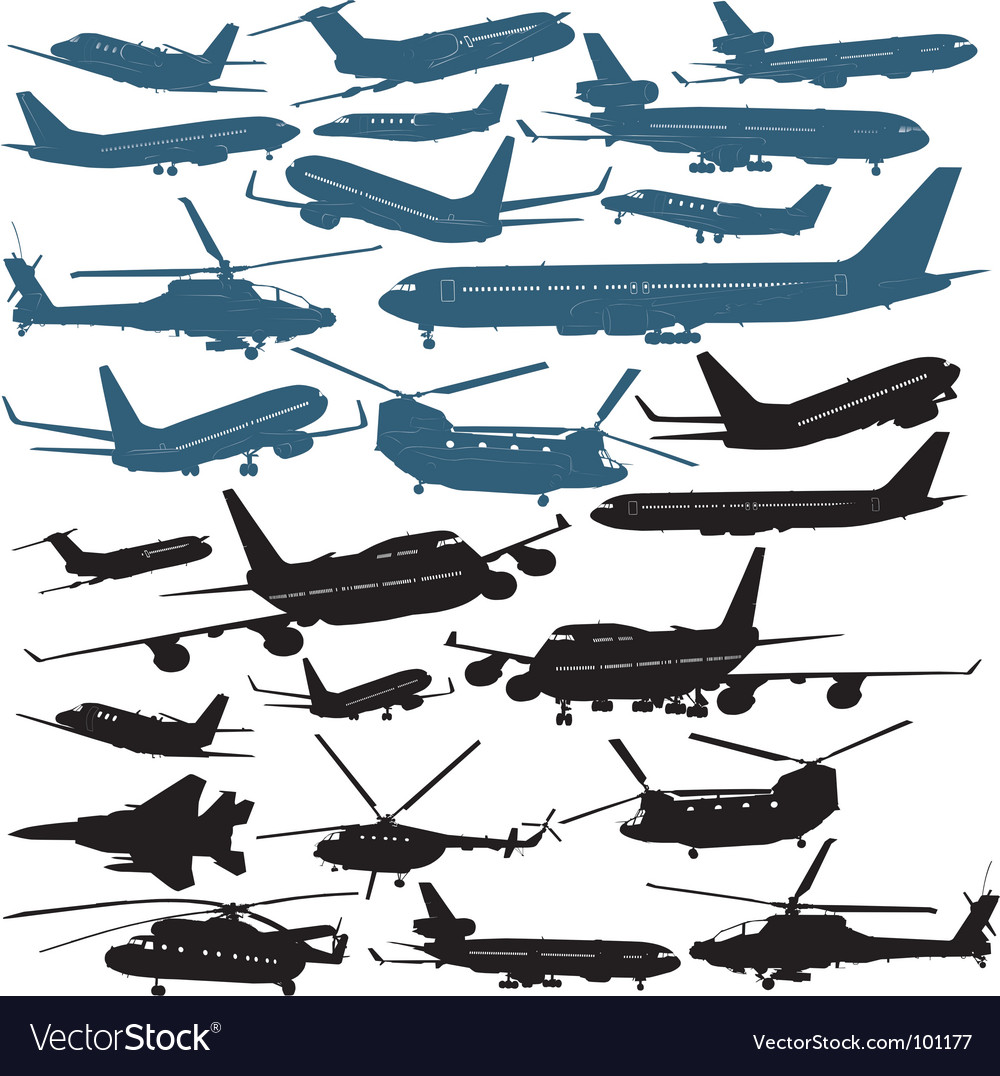 Aircraft silhouettes vector