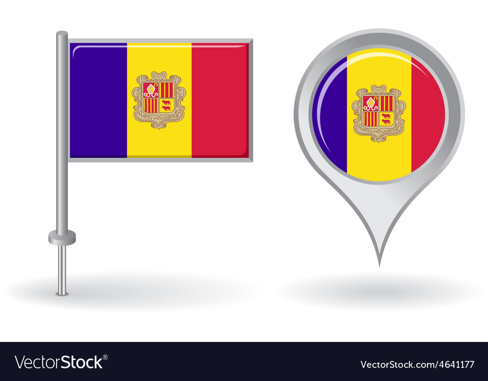 Andorran pin icon and map pointer flag vector