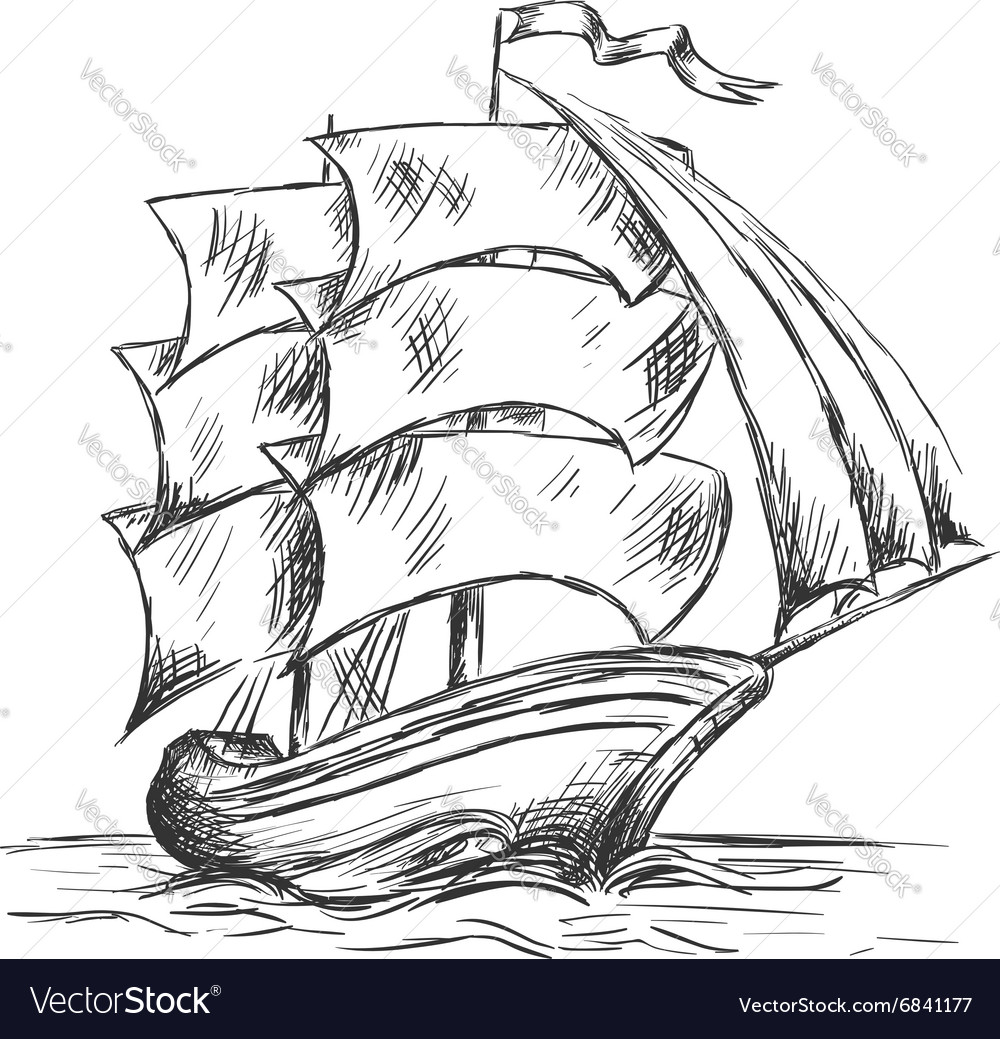 Old ship under full sails in ocean water vector