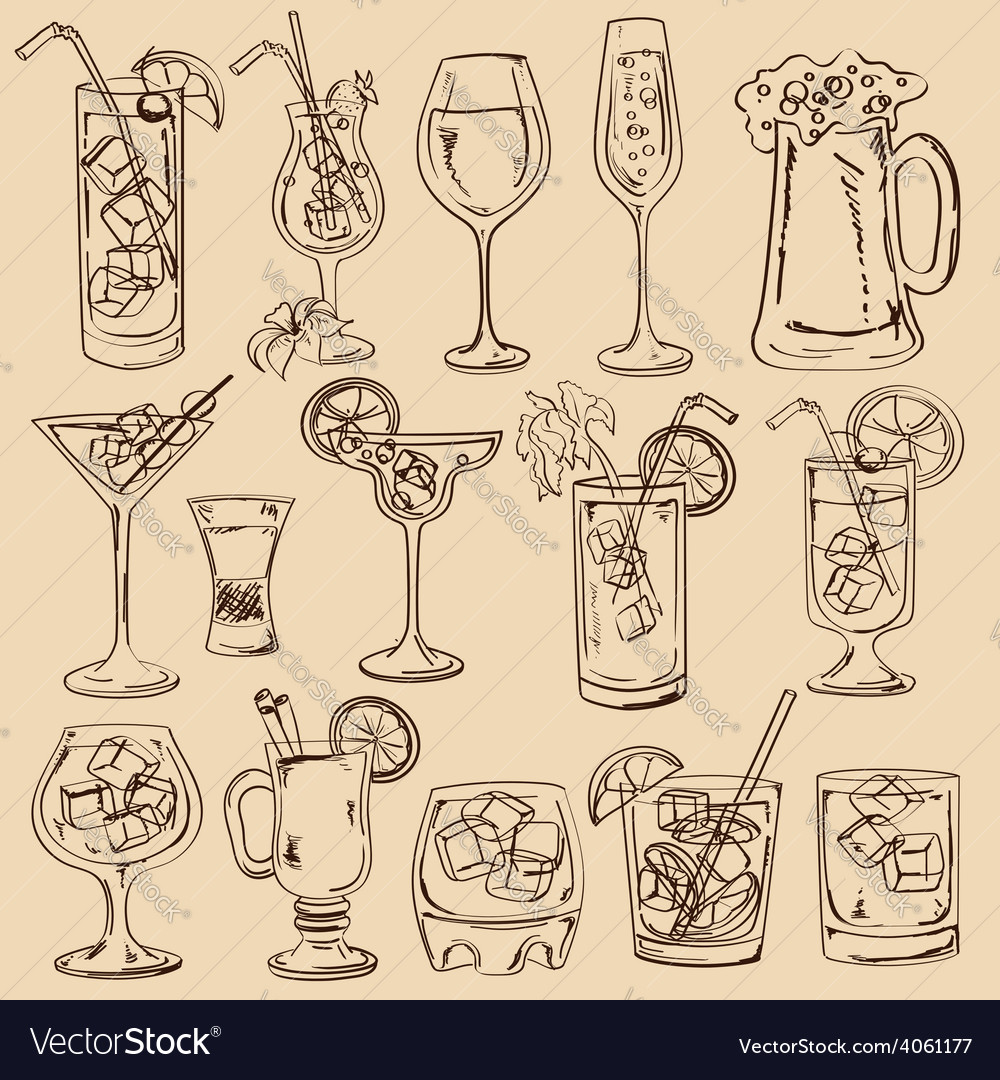 Set of isolated sketch cocktails vector