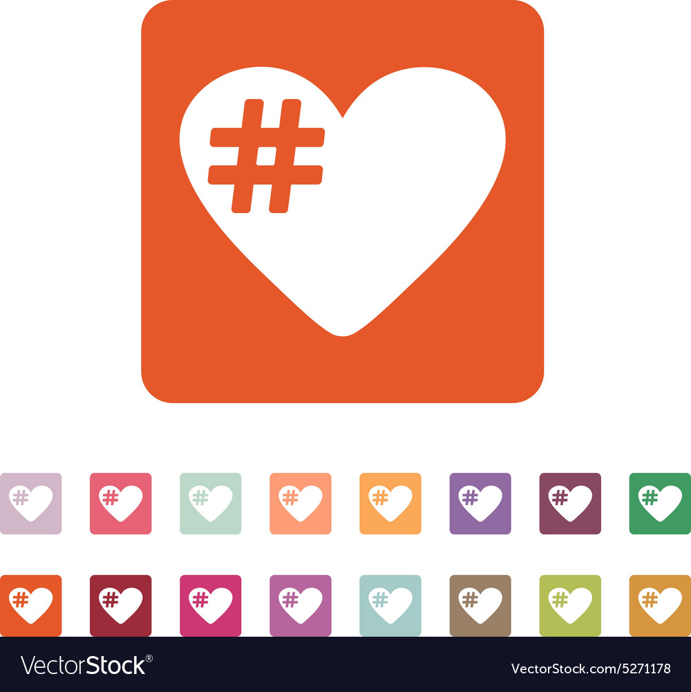 Hash love icon hashtag heart symbol flat vector