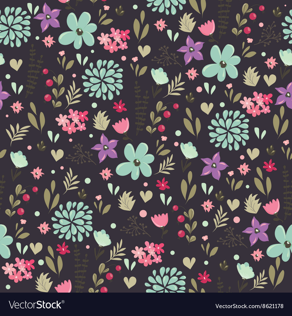Spring floral pattern dark vector