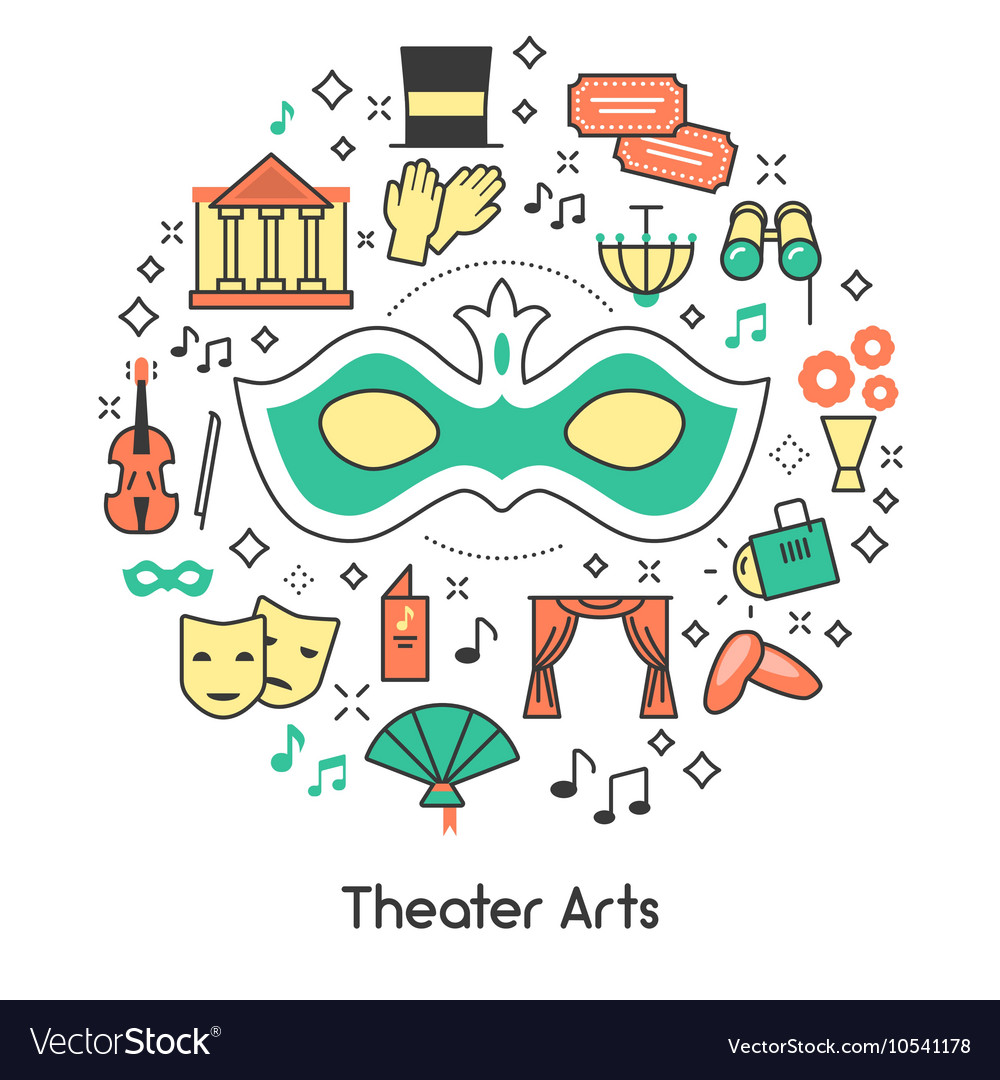 Ter arts line art outline icons set with mask vector