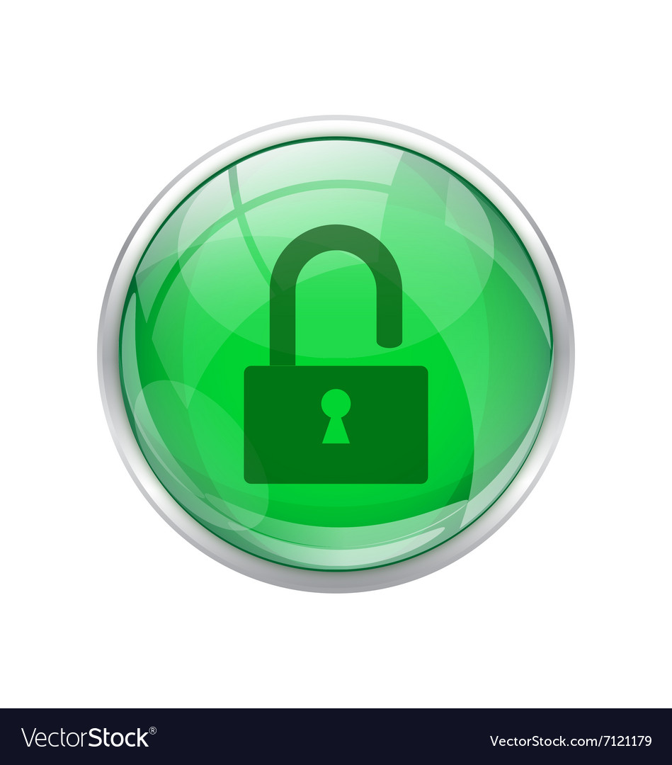 Green unlock button vector