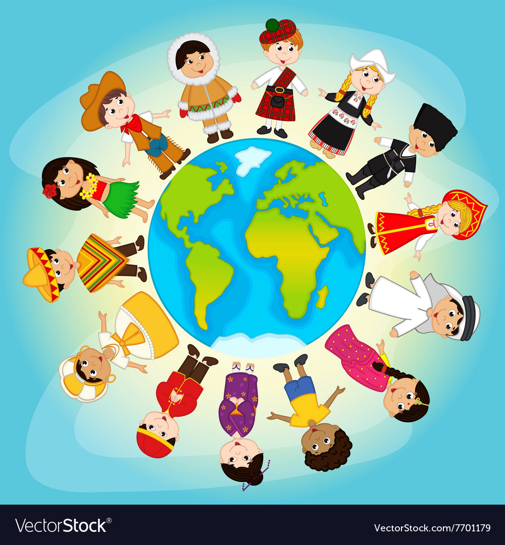 Multicultural people on planet earth vector