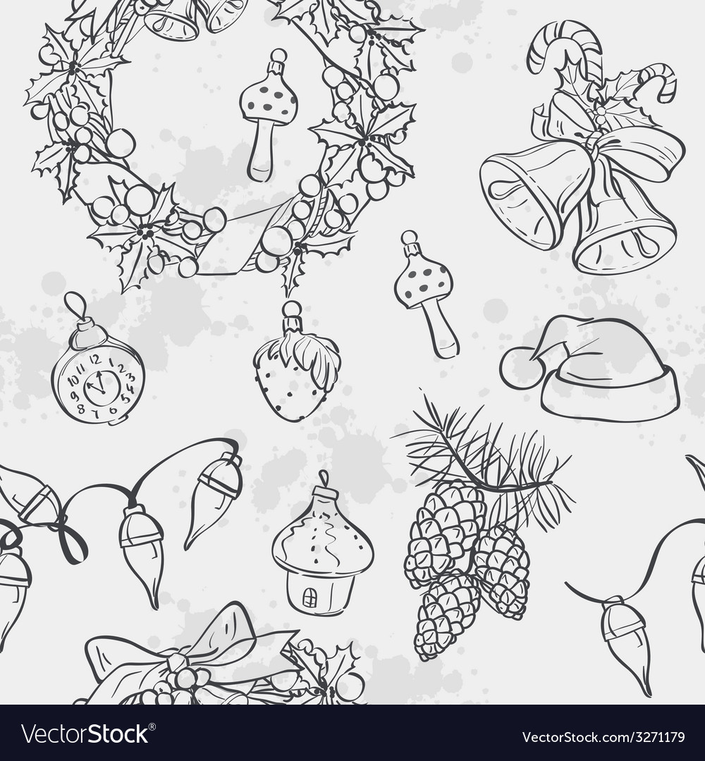 Seamless texture with christmas wreath bells vector