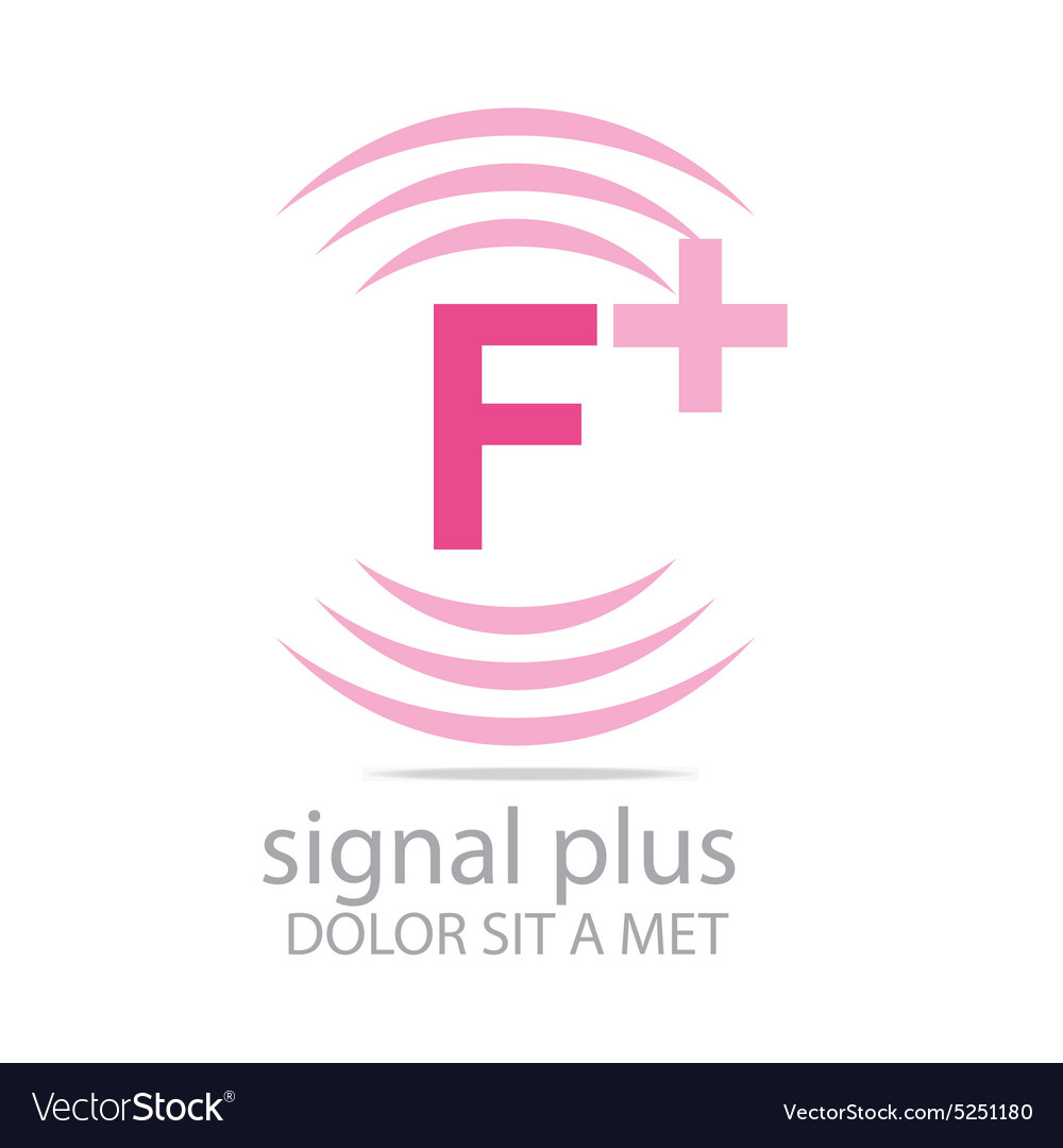 Logo signal letter f plus pink alphabet wireless vector