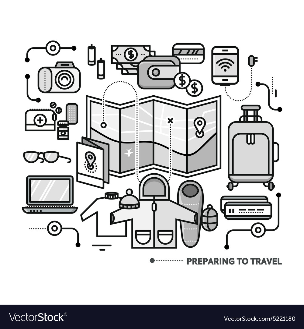 Preparing travel necessary items what to pack vector