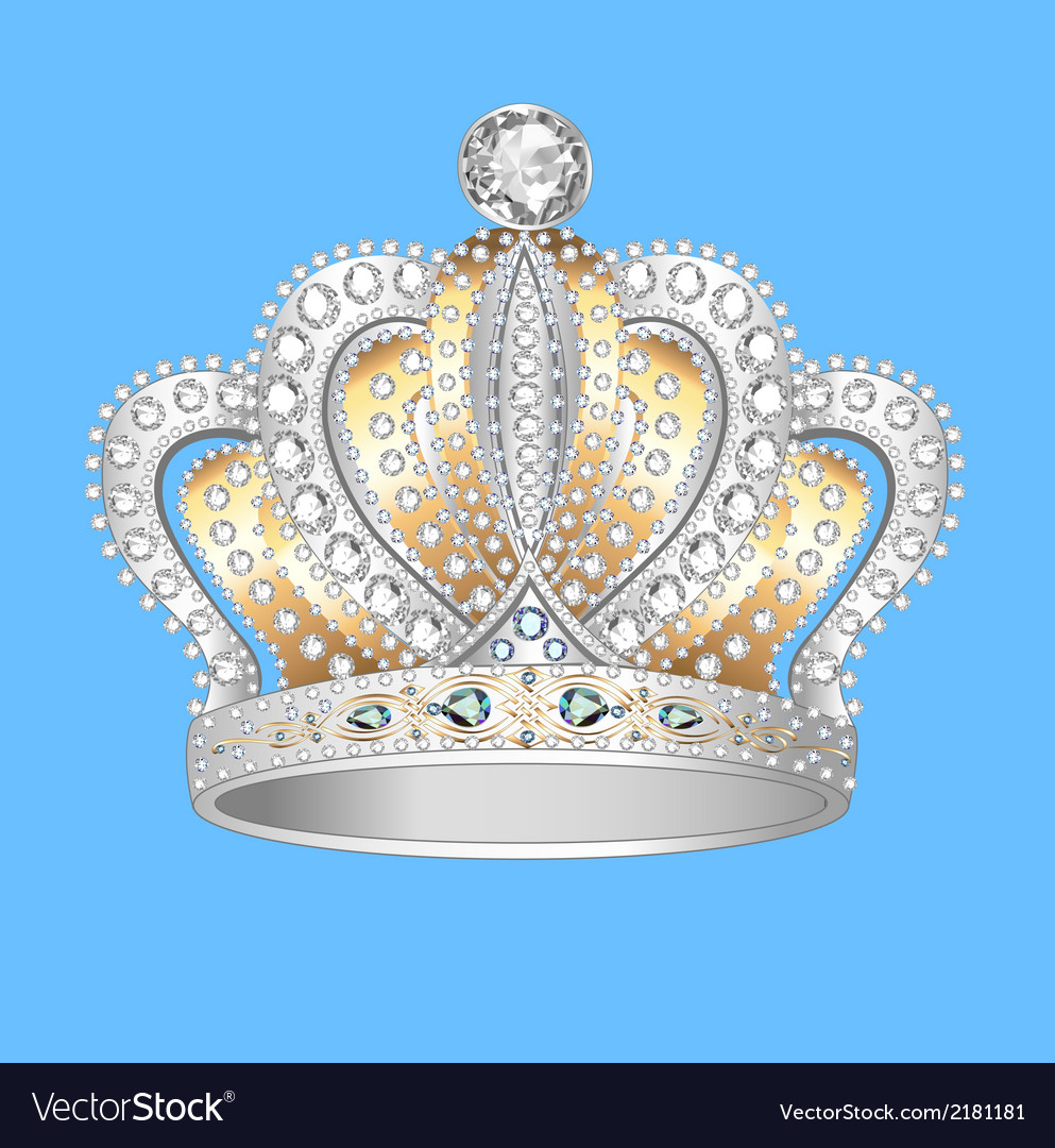 Decorative crown of gold silver vector