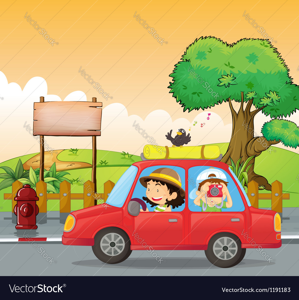 A girl driving and a boy taking pictures vector