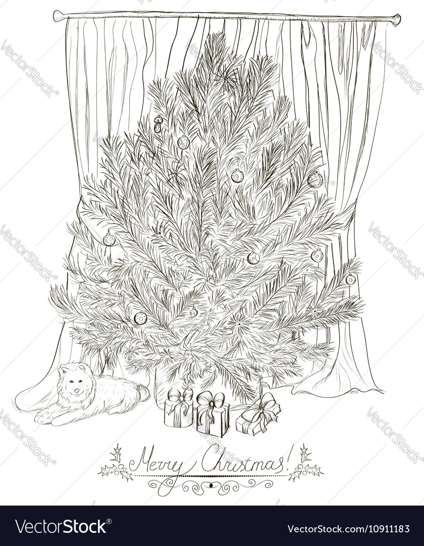 Vintage christmas card with christmas tree vector