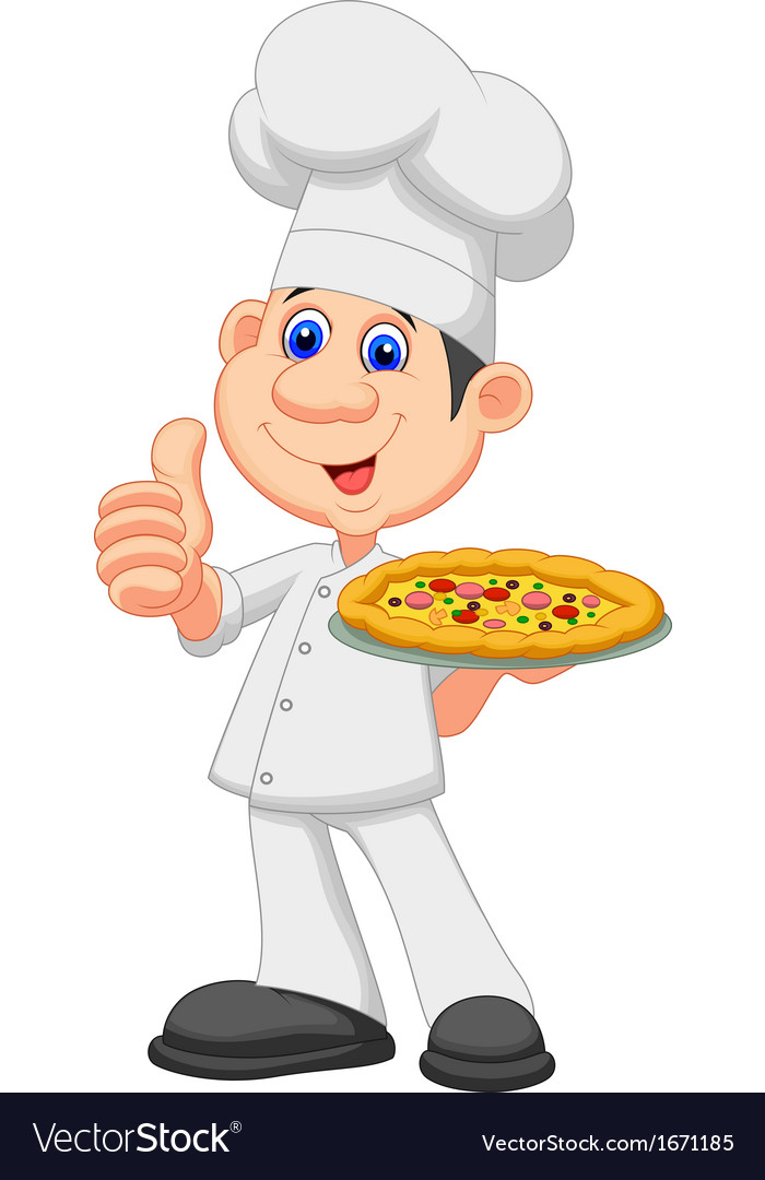 Cartoon chef with pizza vector