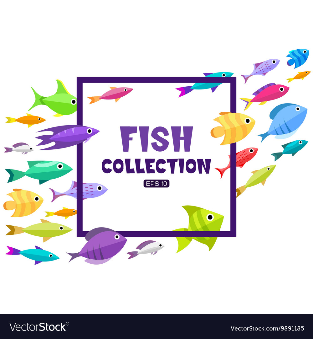 Cartoon fish collection background vector