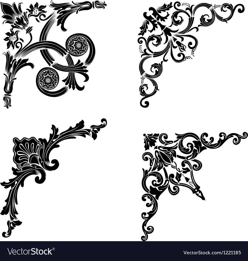 Set of four one color corners elements of design vector