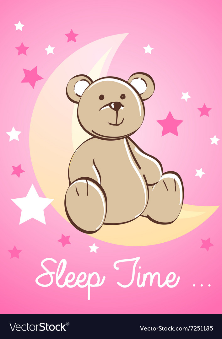 Teddy bear sitting on a moon with stars vector