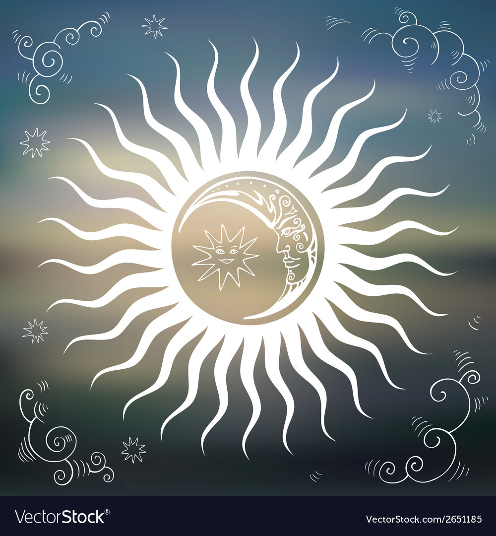 Vintage sky sun moon clouds stars vector