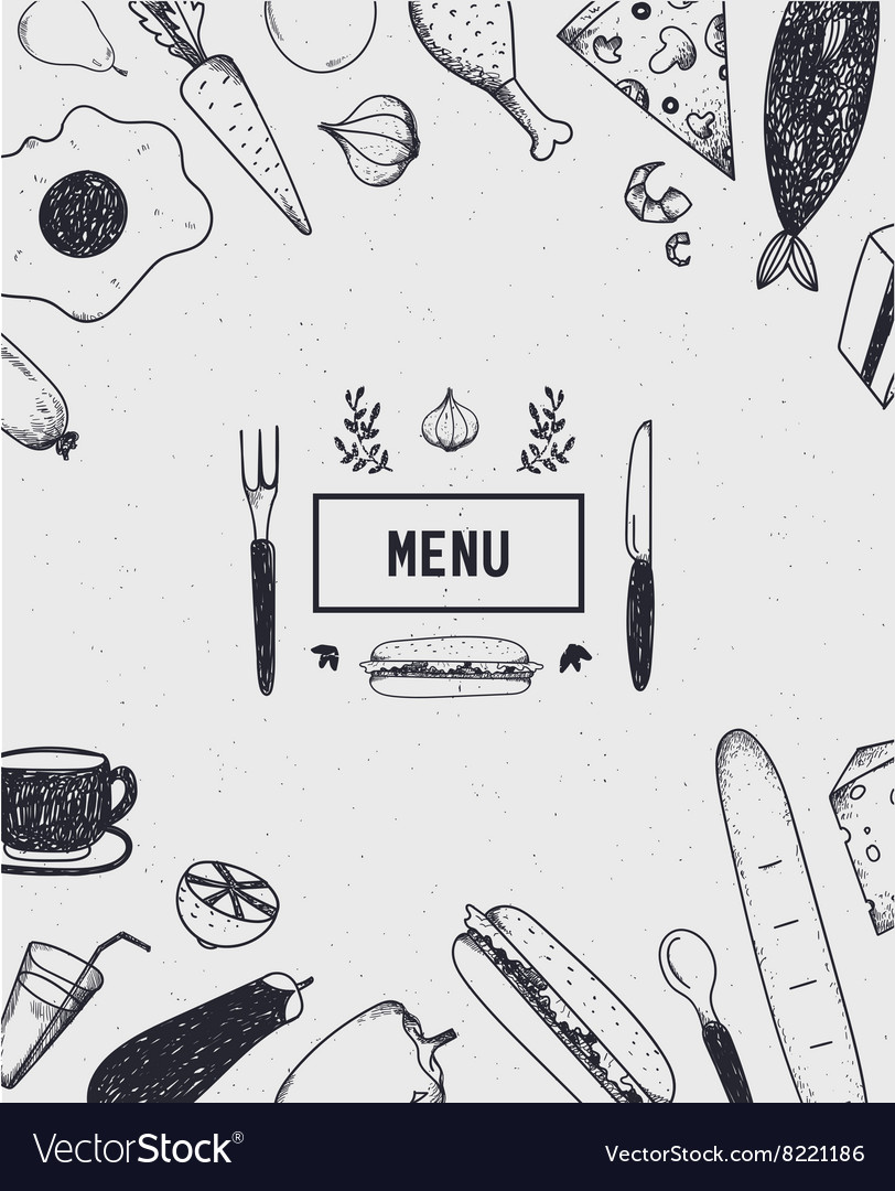 Menu cover with hand drawn food black and white vector
