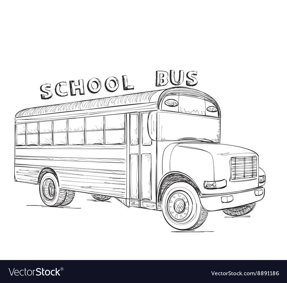 School bus hand drawn transport sketch vector