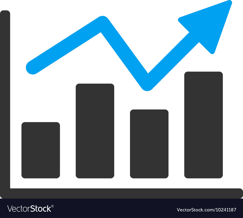 Bar chart trend flat icon vector