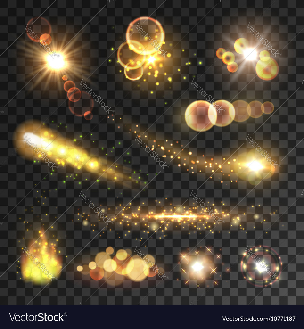 Golden sparkling light trails and flashes vector