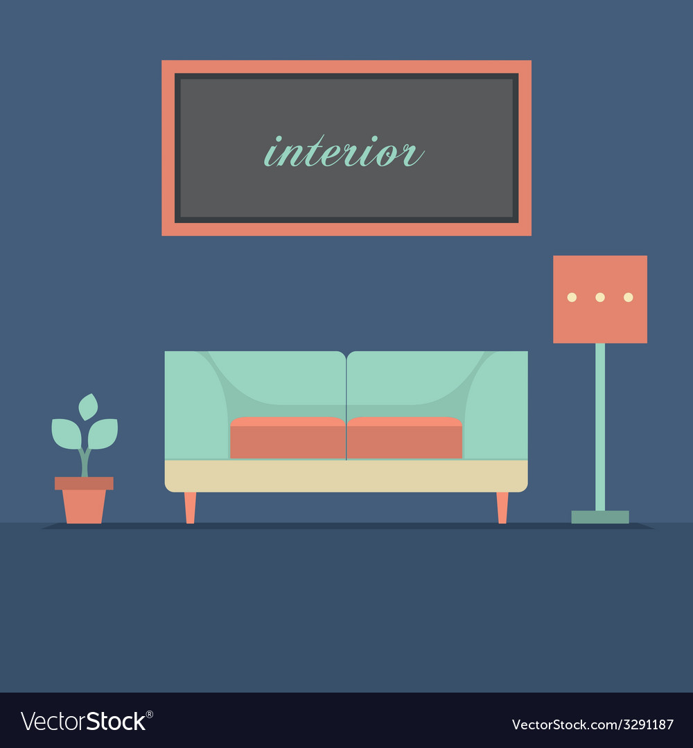 Modern design interior sofa vector