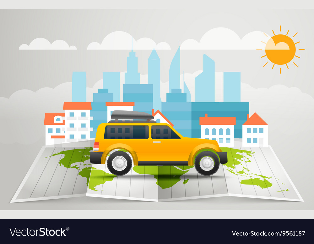 World map with the bus infographic elements summer vector