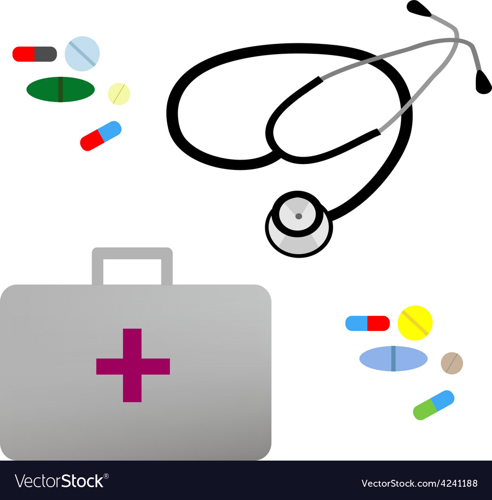Flat stethoscope first aid kit and vector
