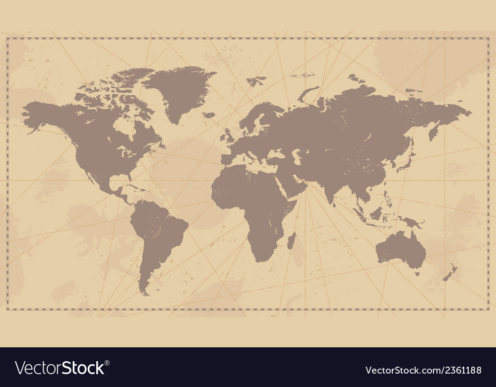 Old vintage world map vector
