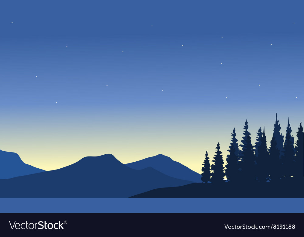 Silhouette of mountain from a far vector