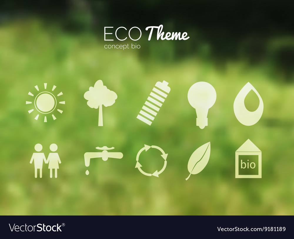 Blurred landscape forest ecology icons vector