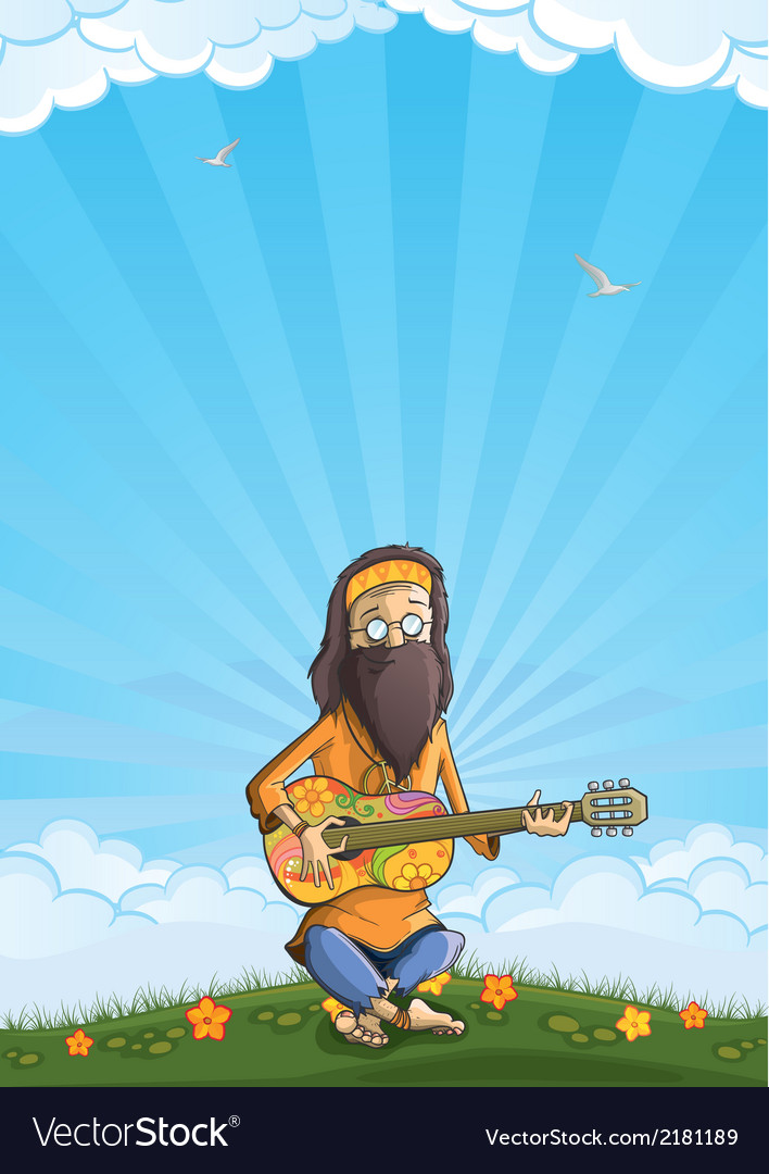 Hippie with guitar outdoor vector