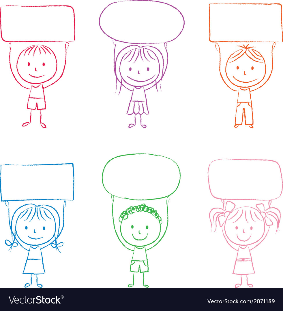 Kids with banners vector