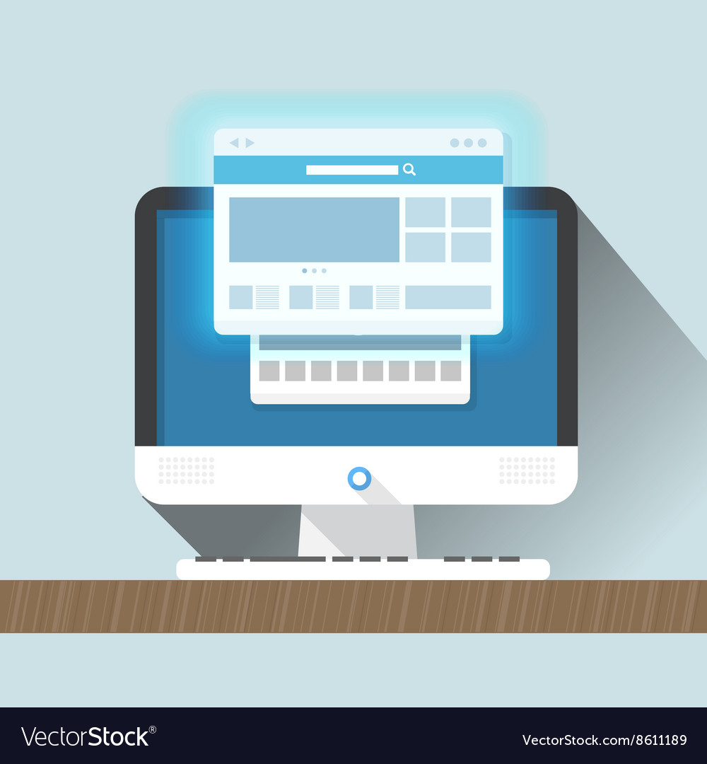 Modern personal computer with a browser flat vector
