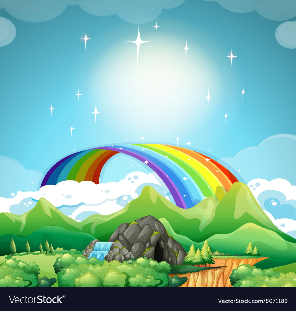 Rainbow over the mountains vector