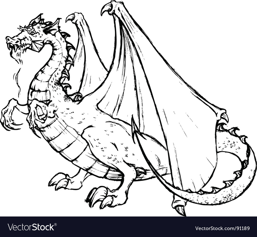 Tatto of a black dragon vector