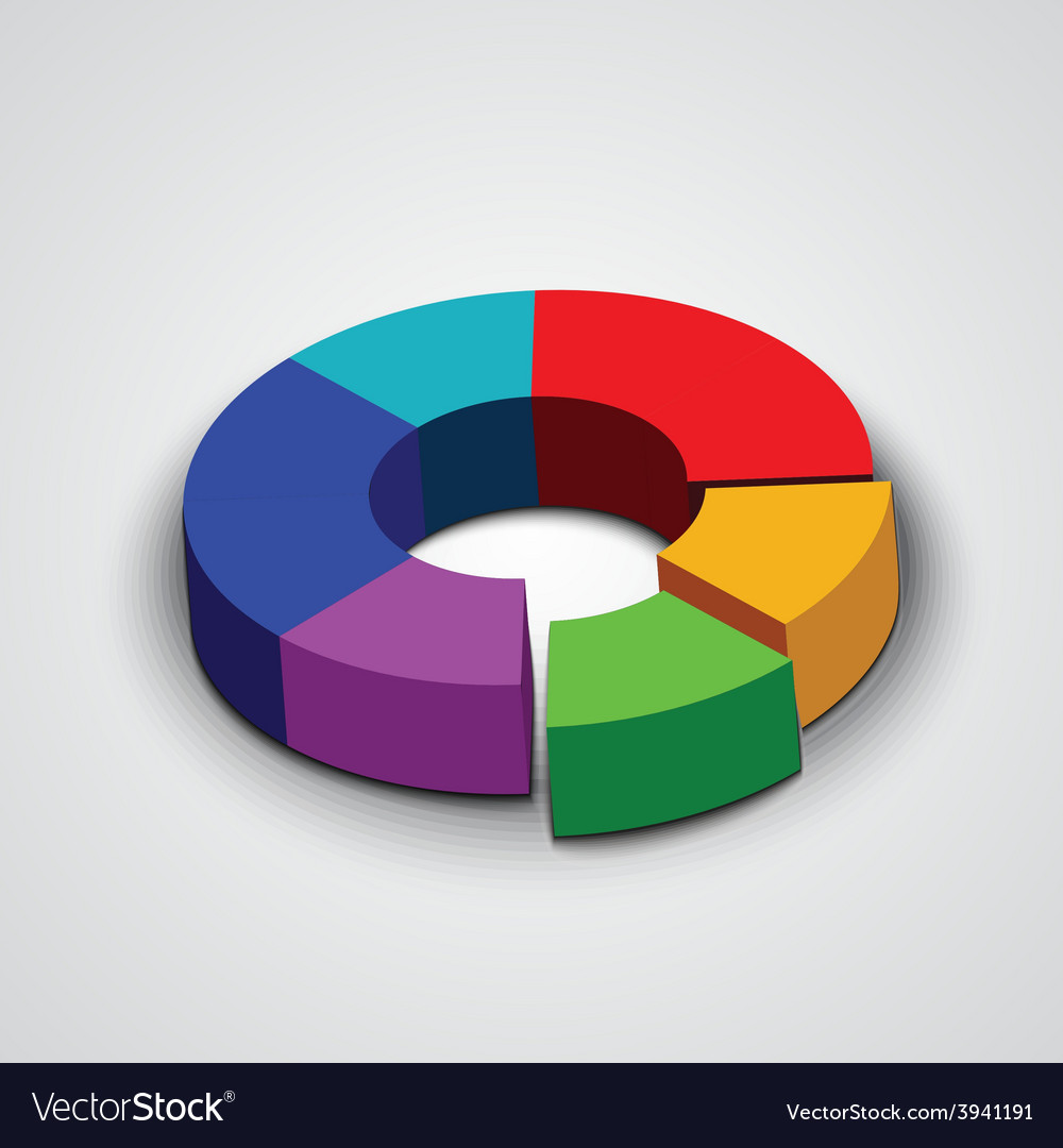 Abstract round 3d business pie chart vector