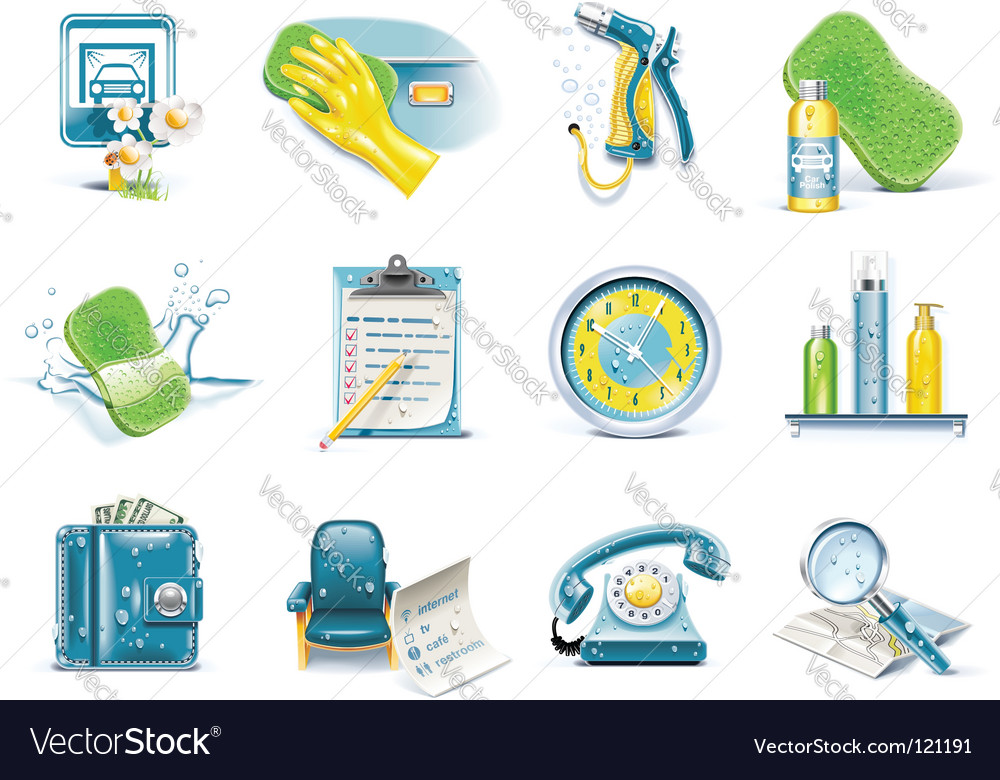 Ar wash service icon set vector