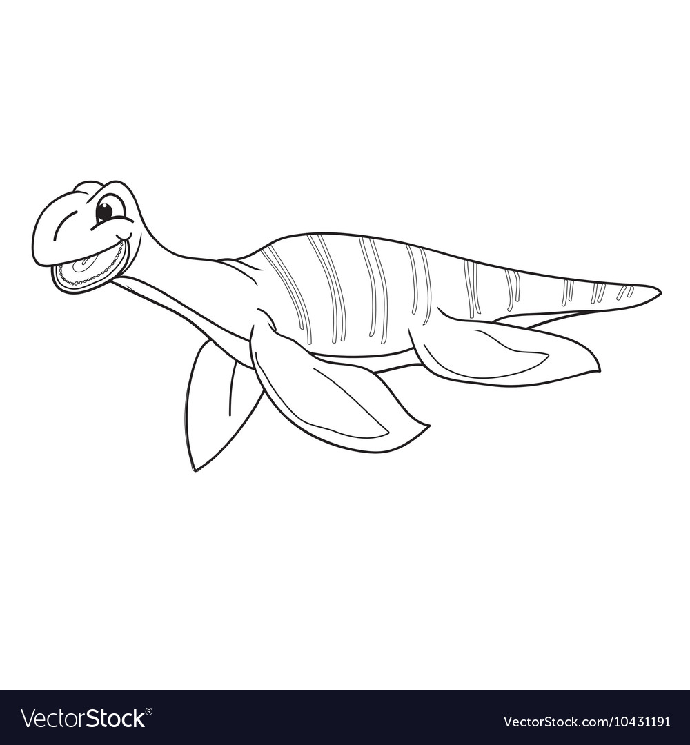Black and white plesiosaur vector