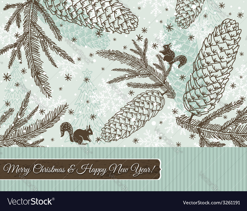 Christmas background with cone squirrel vector