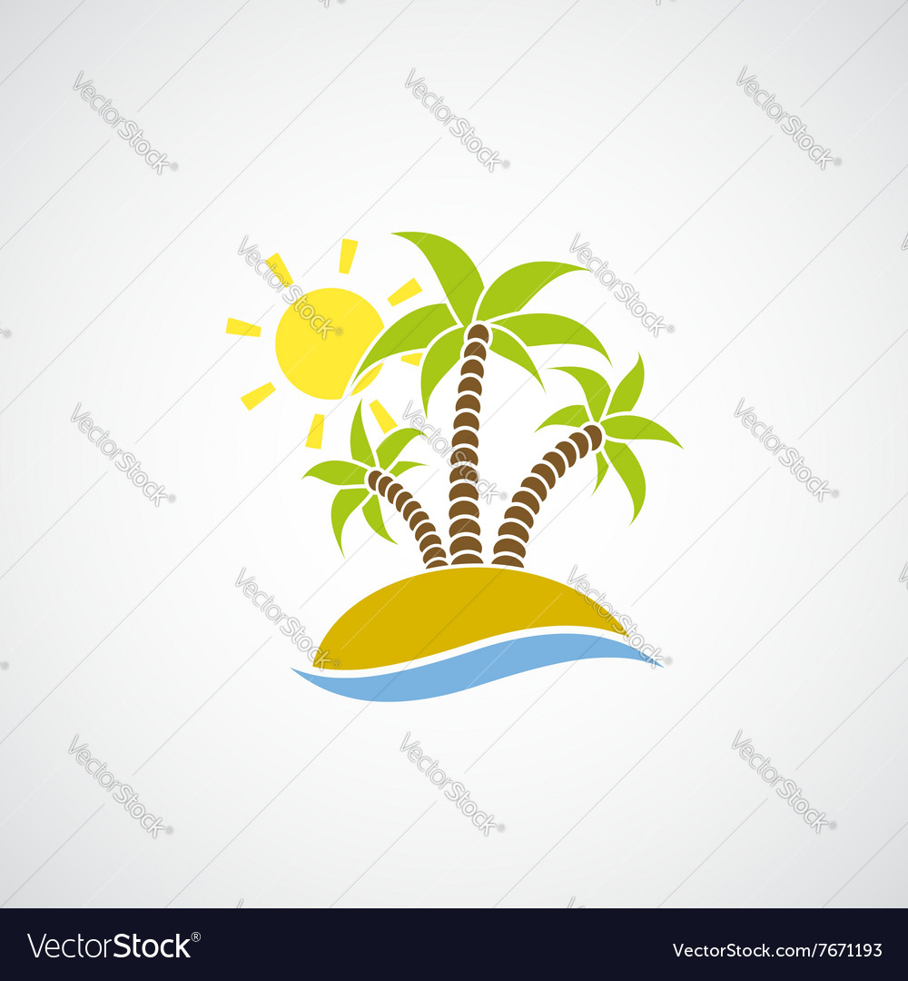 Logo beach with palm trees the ocean and the sun vector
