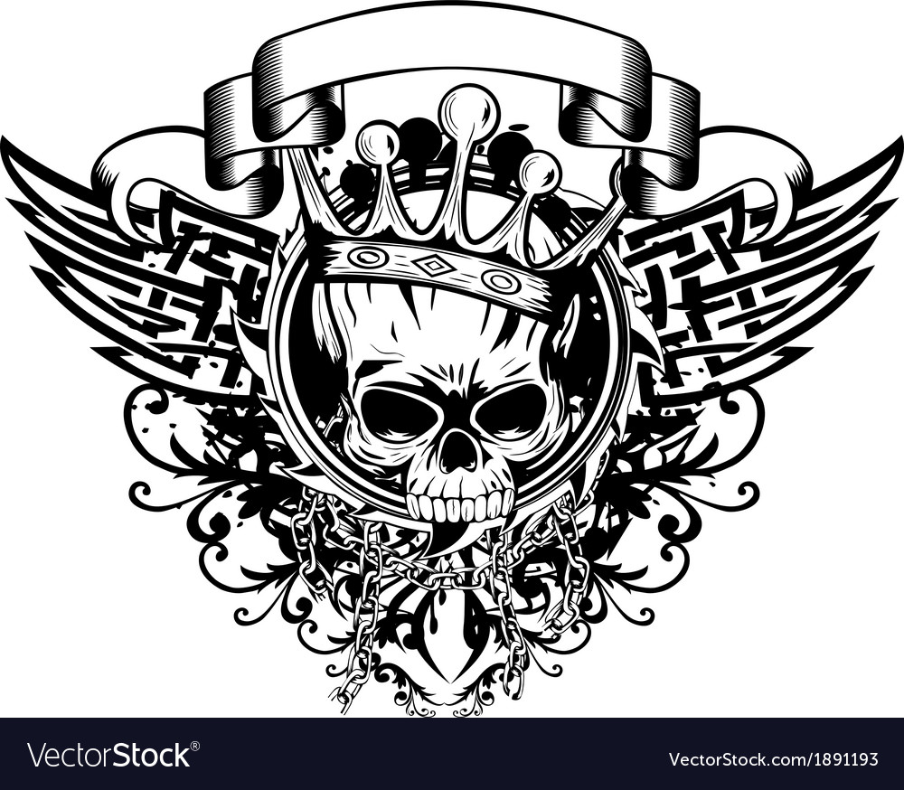 Skull in crown and abstract patterns vector